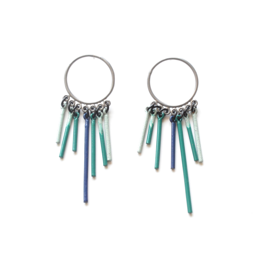 fringe stud earrings powder coat in chrome with turquoise ombre fringe