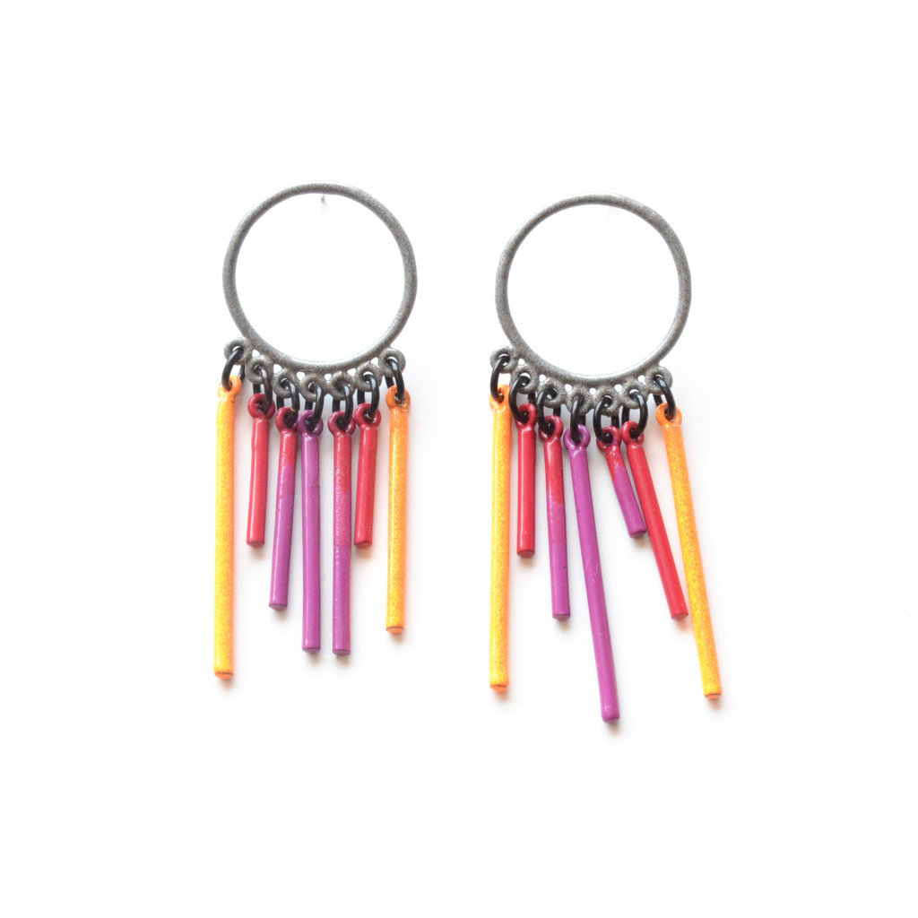 Chrome circle stud earrings with neon orange, red and violet fringe