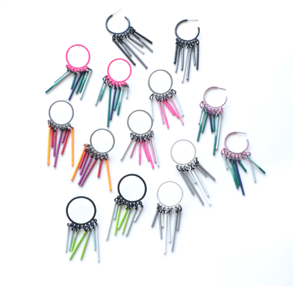 fringe stud powdercoated in a earrings in variety of colours
