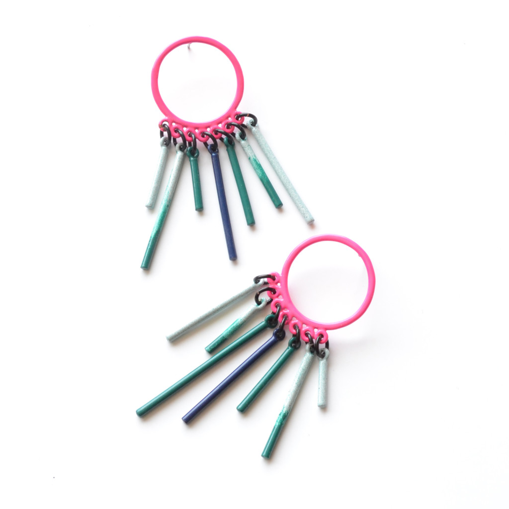 neon pink circle post earrings with emerald and light blue fringe
