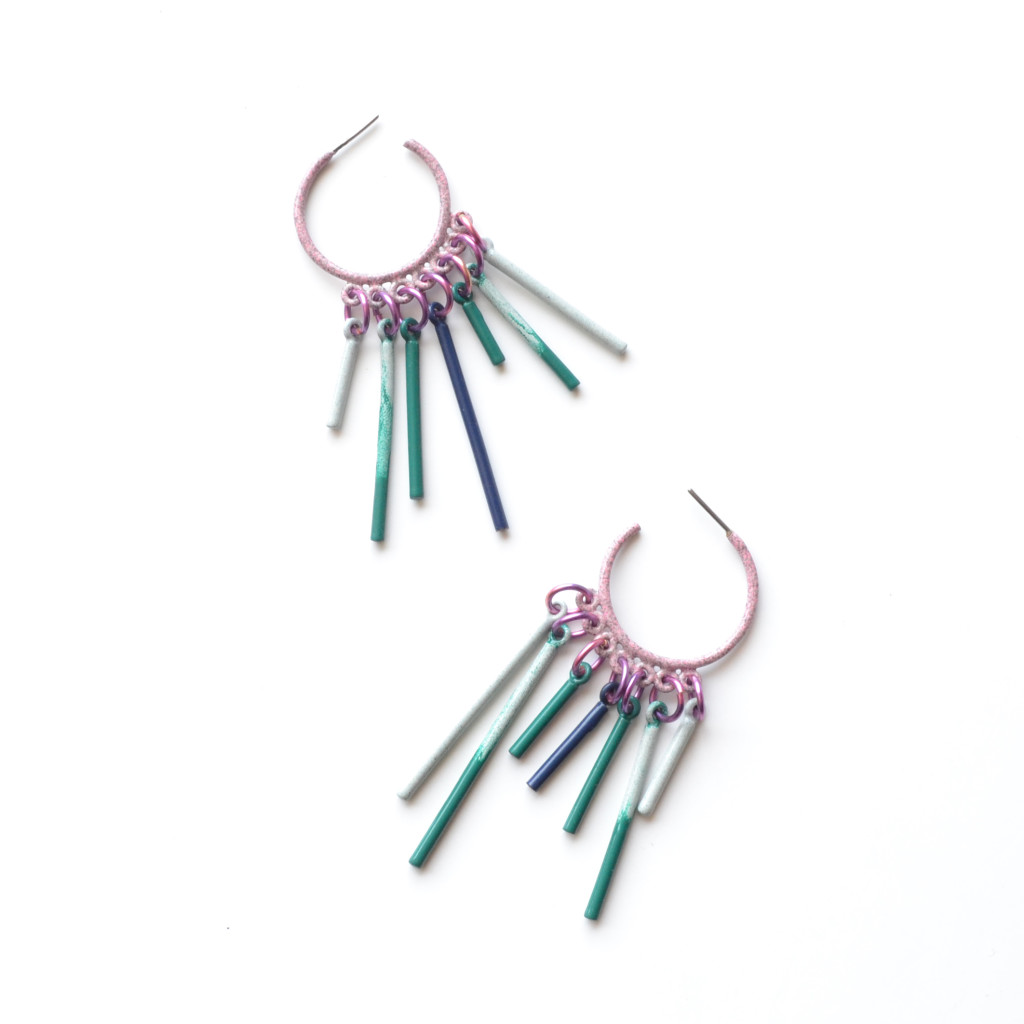 dusty pink circle side hoop earrings with turquoise and grey fringe