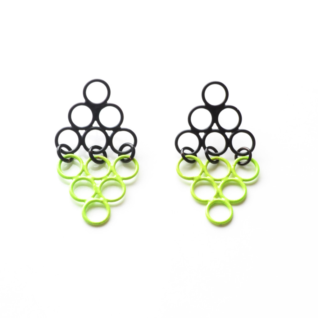 black and yellow powdercoated diamond stud earrings