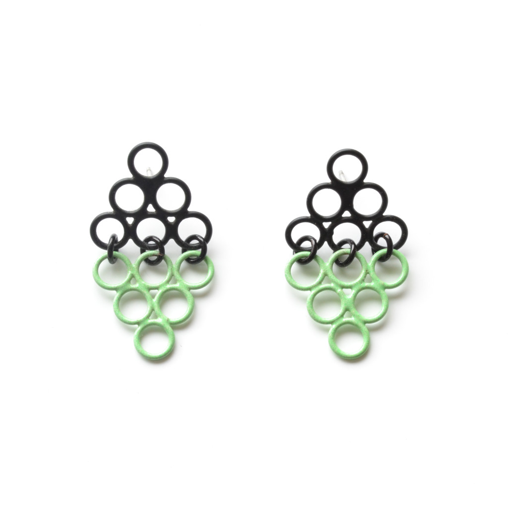 Triangle shadow earrings in mint green and matte black powdercoat