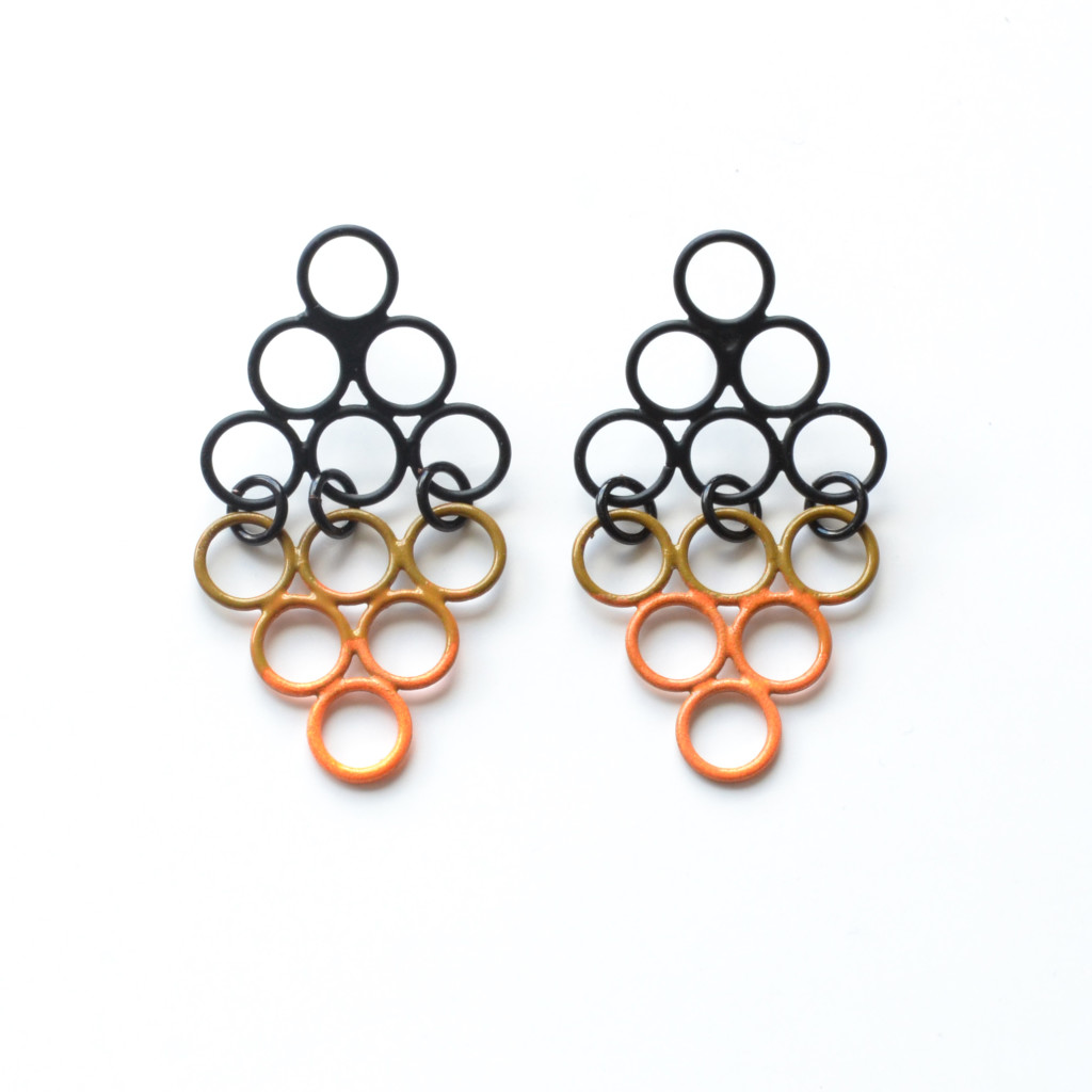 Drop stud earrings, diamond shaped and powdercoated