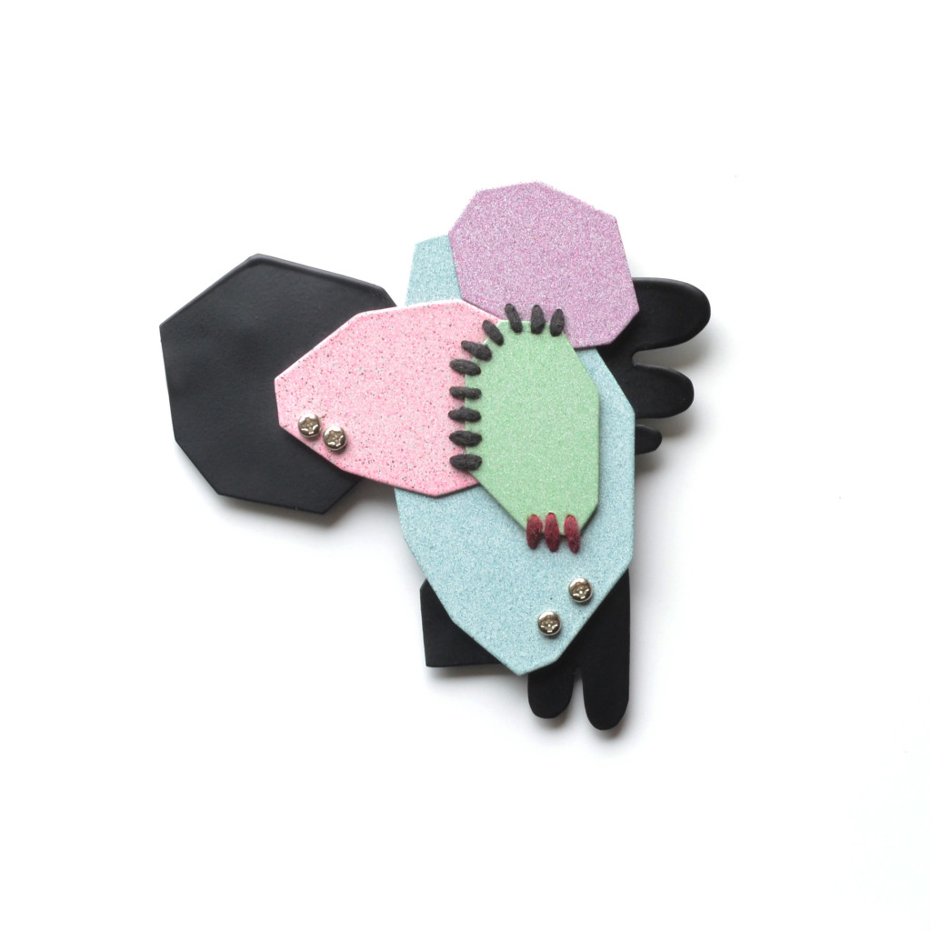 geometric brooch, black1 photo 1