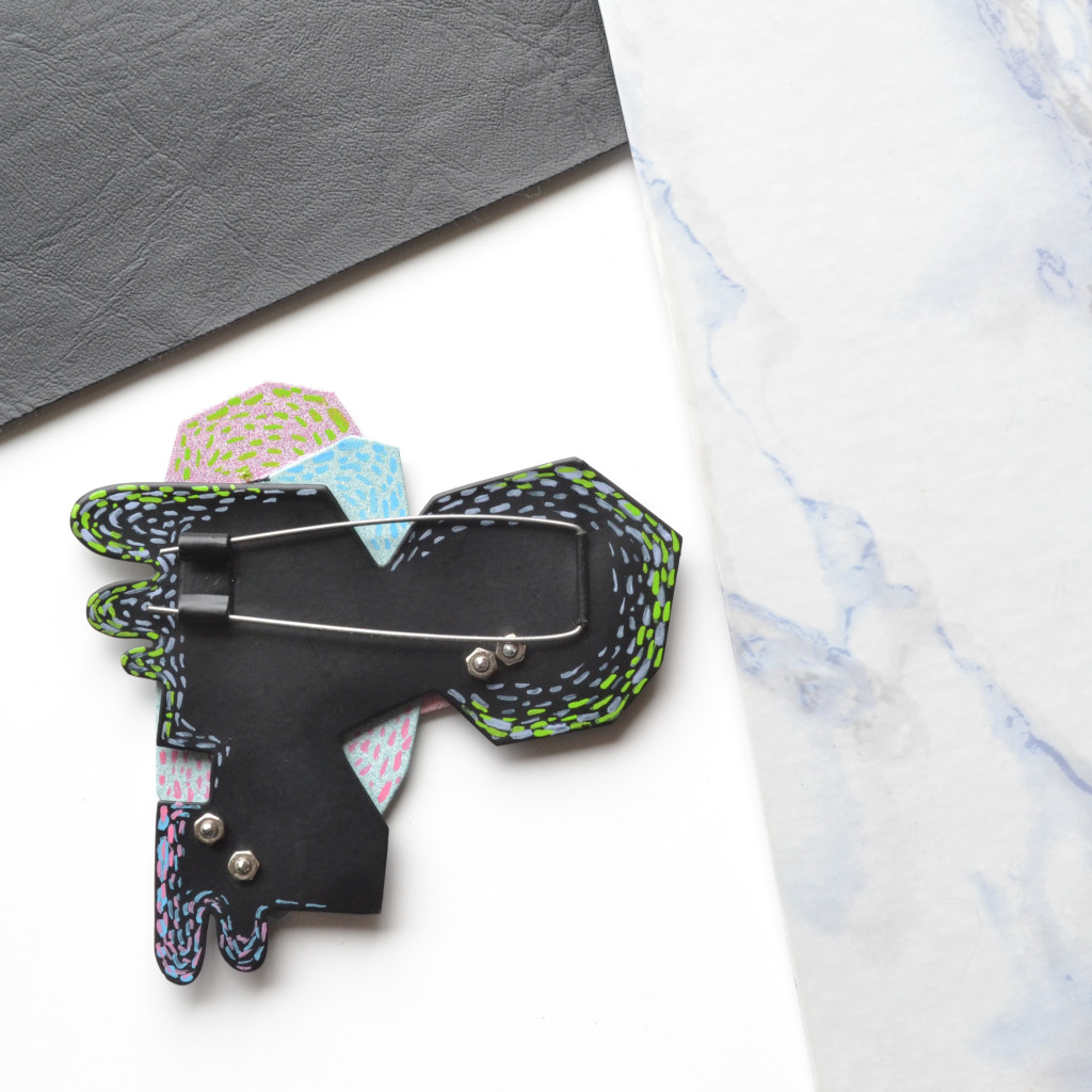 geometric brooch, black1 photo 4