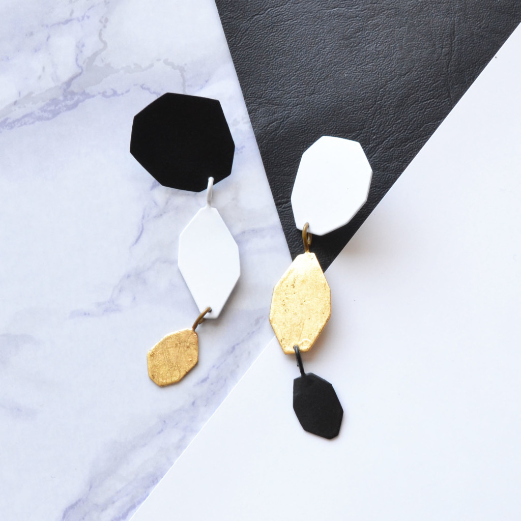 geometric earrings black white and gold photo 2